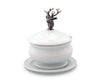 "Vagabond House Lidded Porcelain Soup / Sauce / Gravy Bowl with Solid Pewter Elk Head Handle / Knob - 6.25"" Tall, 6.25"" Wide"