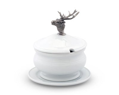 Elk Bust Porcelain Lidded Bowl