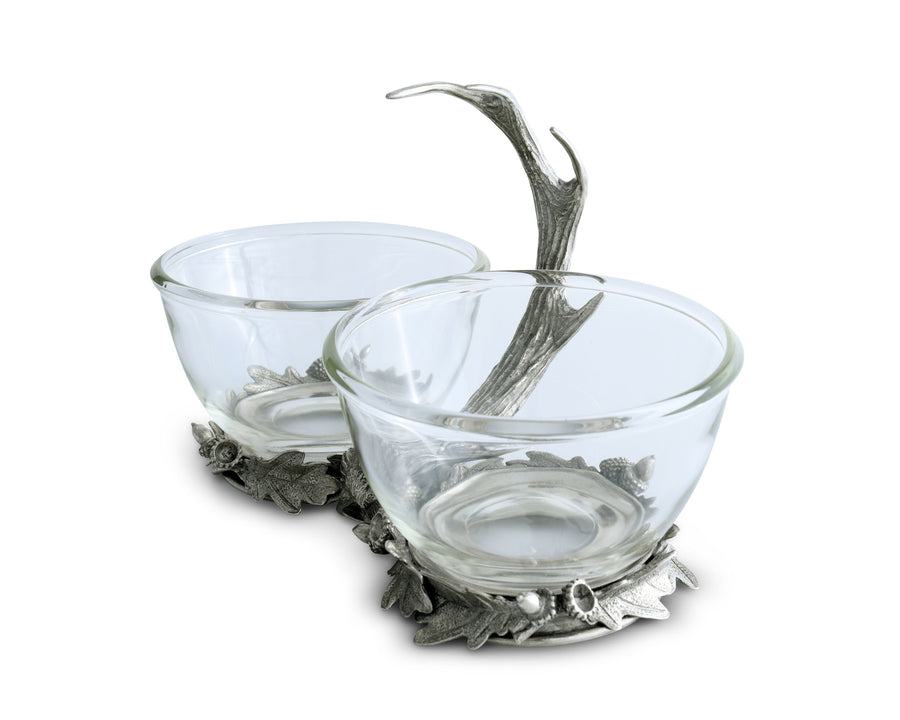 Vagabond House Dip / Nut / Sauce / Condiment Bowl Double Removeable Glass Bowl with Solid Pewter Rustic Antler Handle - 6 inch Tall, 9.25 inch Wide