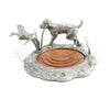 "Vagabond House Soild Pewter Metal Hunting Labrador and Duck Wood Wine Coaster / Holder 5"" Wide x 6.5"" Tall"
