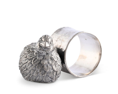 "Vagabond House Pewter Metal Quail Napkin Ring 3"" across 1.5"" Tall (Sold as Single Ring)  Artisan Crafted Designer Rings"