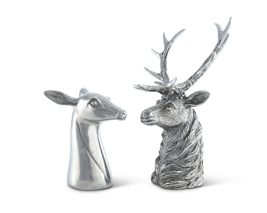 "Vagabond House Pewter Stag and Doe Salt & Pepper Set 3.5"" Tall"