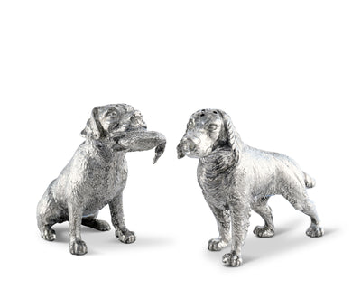 "Vagabond House Pewter Metal Hunting Dogs Salt & Pepper Shakers Set Woodland Décor 5""Long x 3"" Tall"
