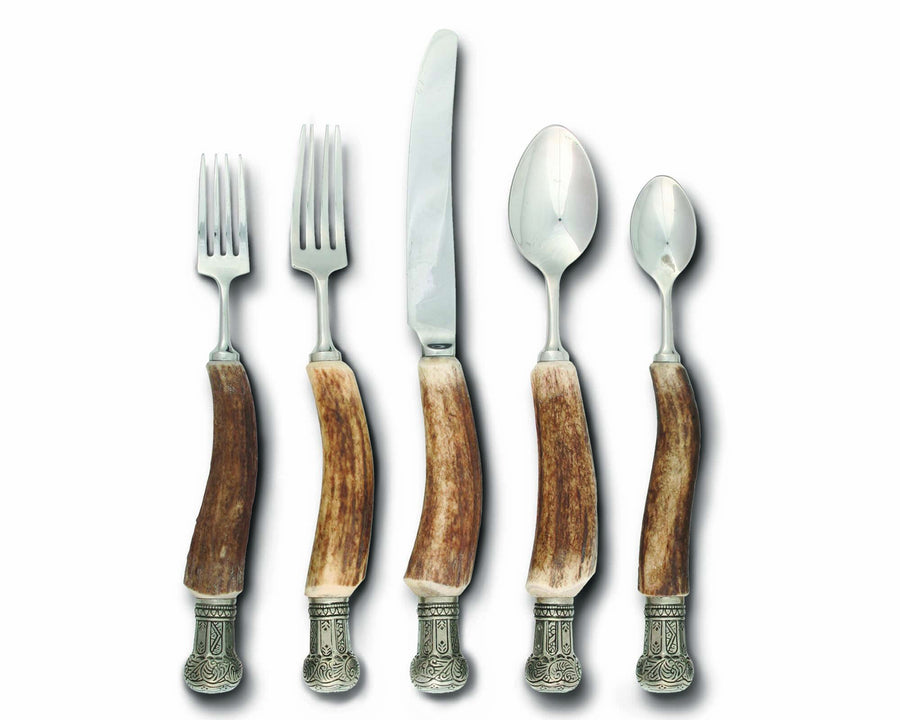 Vagabond House Real Antler Flatware Set with Pewter Crown Cap