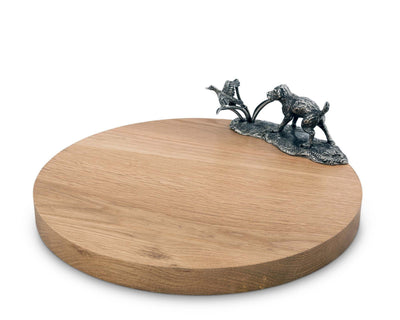 "Vagabond House Pewter Labrador and Duck Hunt on Hardwood Cheese Board 13.5"" Diameter"