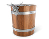 "Vagabond House Teak Wood Vintage Pail  Ice / Wine / Champagne Bucket  with Pewter Elk Head Accent  Handles 9.5"" Tall"