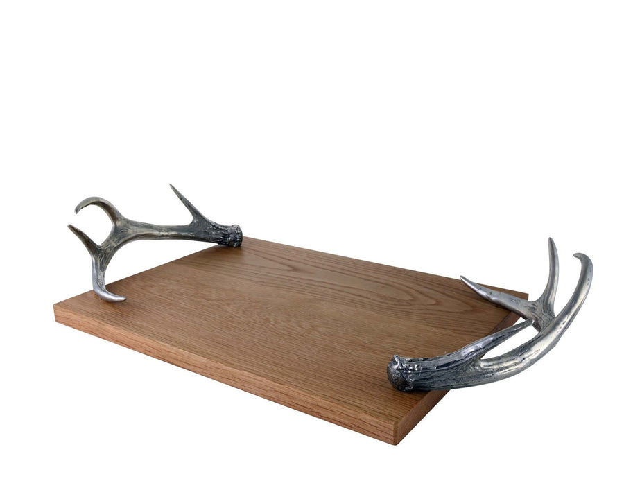 "Vagabond House Cheese Tray With Pewter Antler Handles 22""Long"