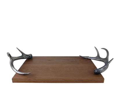Vagabond House Hardwood Cheese Tray With Pewter Metal Antler Handles Artisan Designed Handcrafted for Refined Cabin Lodge Mountain Decor Heirloom Quality 22 inch Long