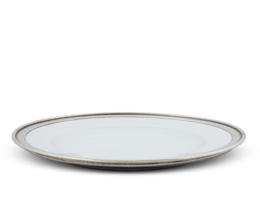 "Vagabond House Classic Pewter Rim Dinner Plate; Tribeca Collection 11"" Diameter Mid Century Modern"