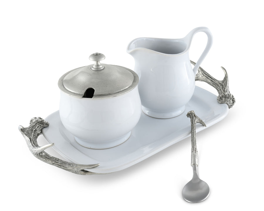 "Vagabond House Stoneware Creamer Set with Pewter Antler Handles 12.25"" Long Tray 5 Pieces creamer pitcher, lidded sugar bowl, decorative handle sugar spoon and 12.25"" long Tray for Coffee and Tea"