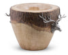 Vagabond House Real Natural Log Ice / Wine Bucket with Pewter Elk Head Accent Artisan Designed Handcrafted for Refined Cabin Lodge Mountain Decor Heirloom Quality  11 inch Tall