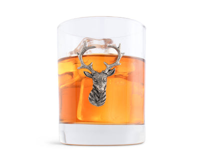 Vagabond House Pewter Elk Head Double Old Fashion / Bar / Whiskey / Juice Glass  8oz - Sold as Single