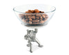 "Vagabond House Dip / Nut / Sauce / Condiment Bowl Removeable Glass Bowl with Solid Pewter Standing Bear Dip Bowl 7"" Tall"