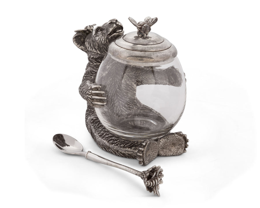 Vagabond House Pewter Metal Bear Holding a Glass Honey Pot and Serving Spoon