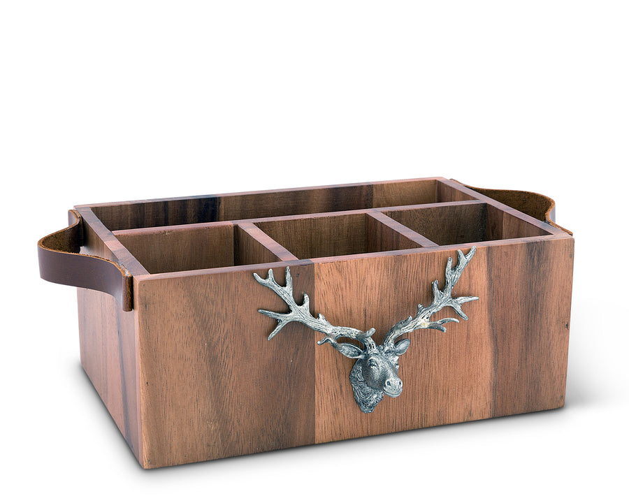 "Vagabond House Caddy Rectangle Acacia Wood Flatware / Serve ware / Utensil / Carry-All Holder with Solid Pewter Rustic Elk Head Accent and Real Leather Handles, 3 Small Compartments and 1 Larger Compartment -  13"" Long"