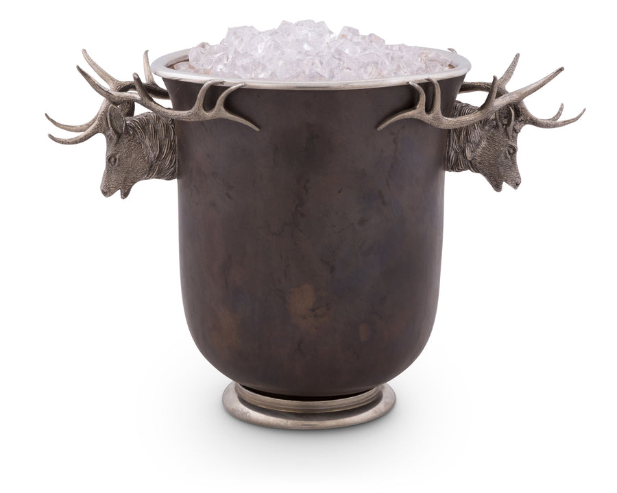 "Vagabond House Solid Bronze Ice / Wine / Champagne Bucket with Pewter Elk Head Handle - True Designer Statement- 8"" Tall"