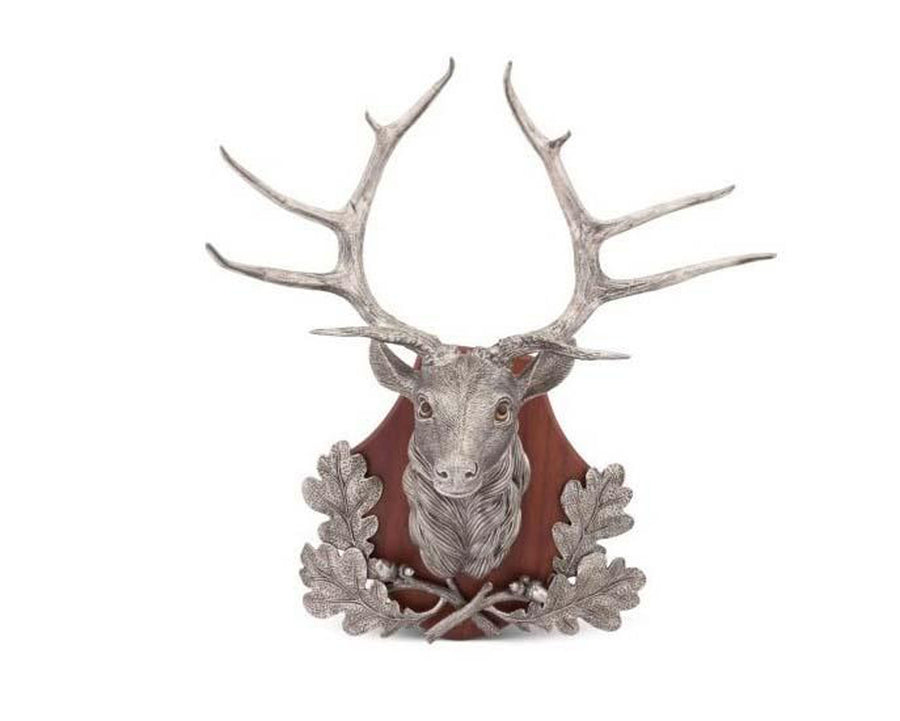 "Vagabond House Pewter Stag Head Mounts Artisan Designed Handcrafted for Refined Cabin Lodge Mountain Decor Heirloom Quality 15"" Wide x  21"" Tall"