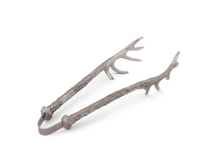 Pewter Antler Pattern Ice / Bread Tongs