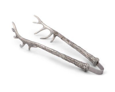 Vagabond House Pewter Antler Pattern Ice / Bread / Bar Tongs Artisan Designed Handcrafted for Refined Cabin Lodge Mountain Entertaining Heirloom Quality 8 inch Long