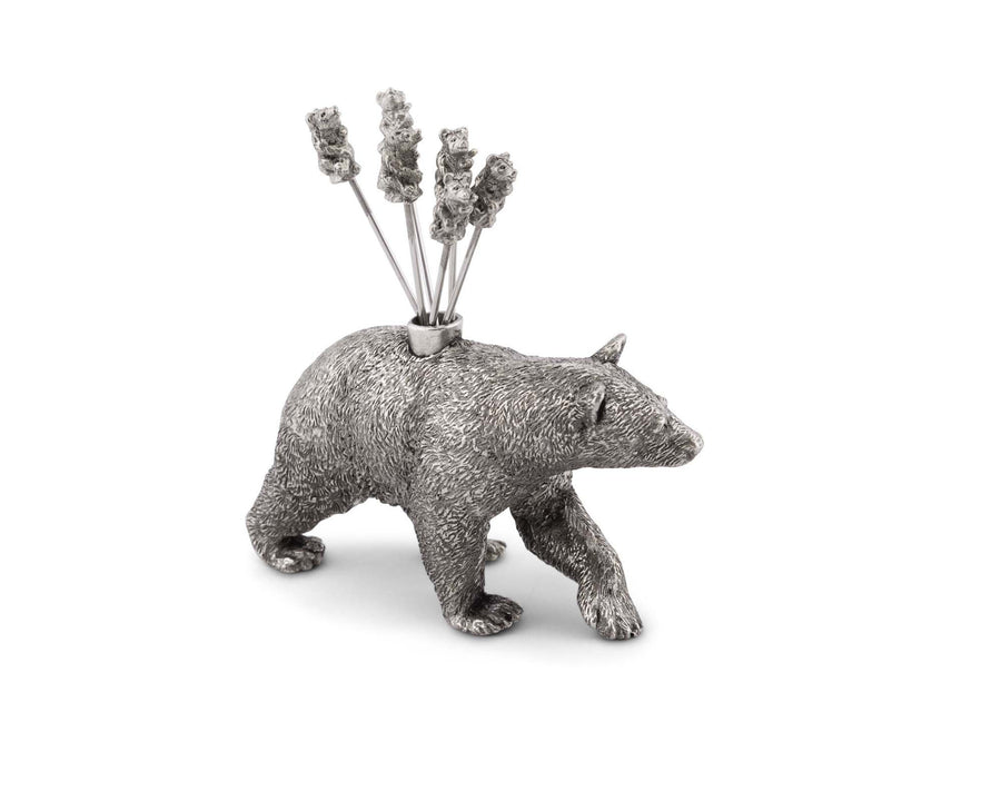 "Vagabond House Pewter Black Bear Cheese Picks (6 Picks) 4"" Tall - Silver Color"
