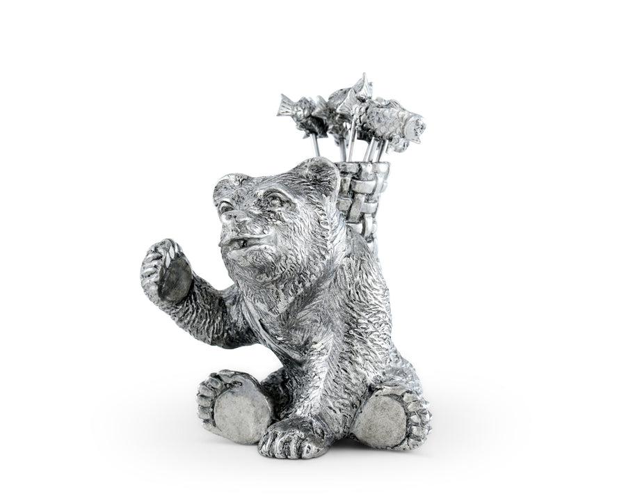"Vagabond House Pewter Camping Bear with 6 Fish Cheese / Hor d'oeuvre  / Cocktail picks 3"" Tall - Silver Color"