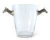 "Vagabond House Glass  Ice / Wine / Champagne Bucket with Pewter Giraffe Handles 11"" Tall"