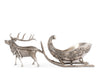 "Vagabond House Pewter Reindeer Sleigh Centerpiece 7"" Tall x 17"" Long"