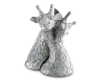 "Vagabond House Pewter Metal Giraffes Salt and Pepper Shaker Set 4"" Tall"