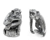 "Vagabond House Pewter Chimp Salt and Pepper 3.5"" Tall"