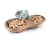 "Vagabond House Peanut Shape Wood Nut / Candy / Snack Bowl with Pewter Elephant 10"" Wide"