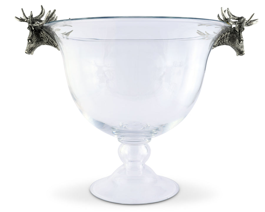 Vagabond House Pewter Elk Glass Ice Tub / Champagne Bucket Artisan Designed Handcrafted for Refined Cabin Lodge Mountain Entertaining Heirloom Quality 20 inch Long x 15 inch Wide x 16 inch Tall