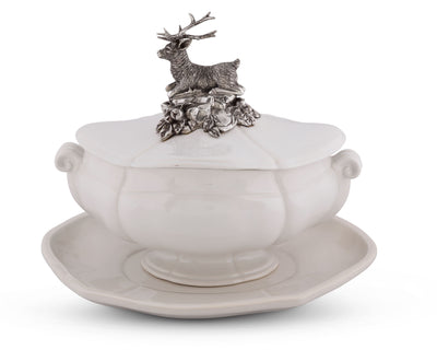"Vagabond House Pewter Metal Stag Forest Stoneware Soup Tureen 3 pieces Tureen / Lid / Tray 13"" Long x 9"" Wide - 13 Inches Long"