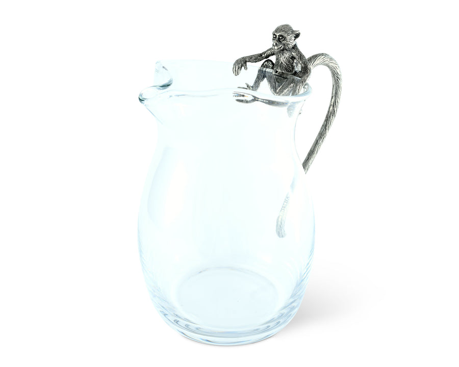 "Vagabond House Glass Pitcher with Pewter Monkey Handle 8"" Tall"