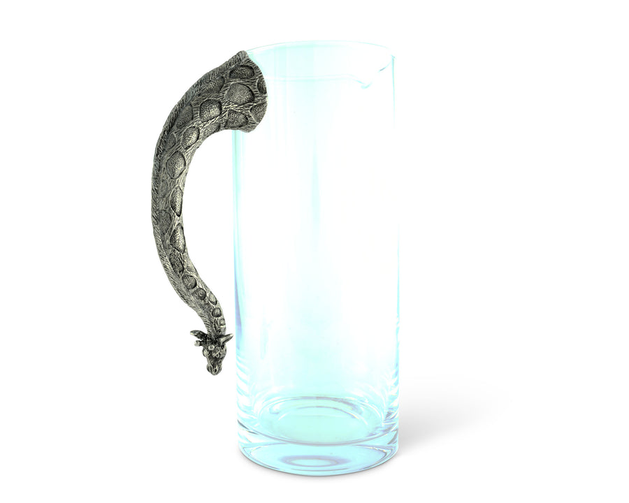 "Vagabond House Glass Pitcher with Pewter Giraffe Handle 10"" Tall"