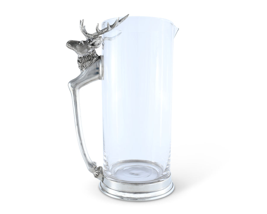 "Vagabond House Glass Pitcher with Pewter Metal Deer Leg and Head Artisan Designed Handcrafted for Refined Cabin Lodge Mountain Entertaining Heirloom Quality 10"" Tall"