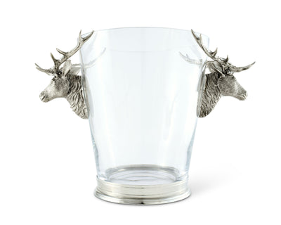 Vagabond House Glass Ice / Wine Bucket with Pewter Deer Head Handles Artisan Designed Handcrafted for Refined Cabin Lodge Mountain Entertaining Heirloom Quality  12 inch Tall