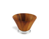 "Vagabond House Classic Wood Salad Bowl with Modern Pewter Base - Single Serve 6.5"" Diameter x 4.5"" Tall"