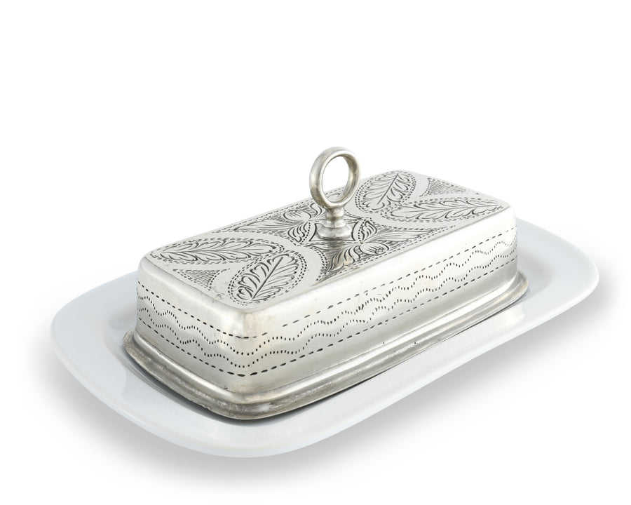 "Vagabond House Pewter Provencal Style Butter Cream Cheese Dish 6"" Wide x 9"" Long"