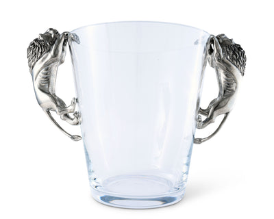 "Vagabond House Glass  Ice / Wine / Champagne Bucket  with Pewter Lion Handles 11"" Tall"