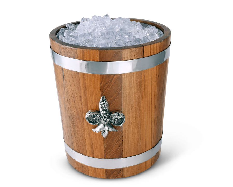 "Vagabond House Teak Wood Ice / Champagne / Wine / Beverage Bucket with Solid Pewter ""Fleur de Lis"" Emblem and Pewter Bands - 9"" Tall"