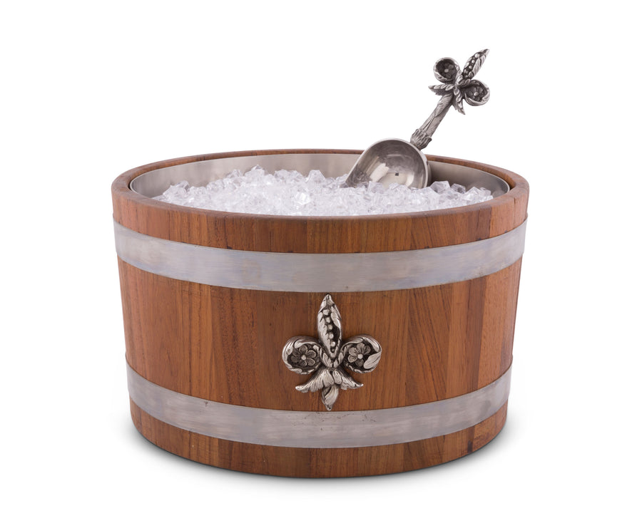 "Vagabond House Solid Teak Wood Ice / Wine / Champagne / Beer Cooler / Tub with Pewter ""Fleur de Lis""  Emblem and Pewter Bands - 6.75"" Tall"