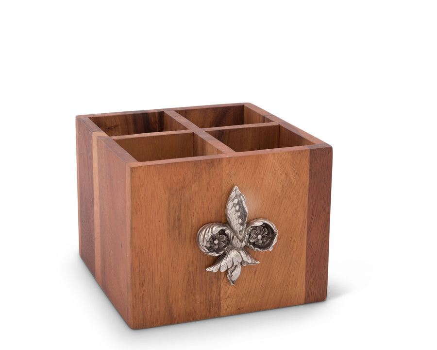 "Vagabond House Square Caddy Acacia Wood Flatware / Serve ware / Utensil / Carry-All Holder with Solid Pewter Fleur de Lis Accent, 4 Compartments - 11"" Long"