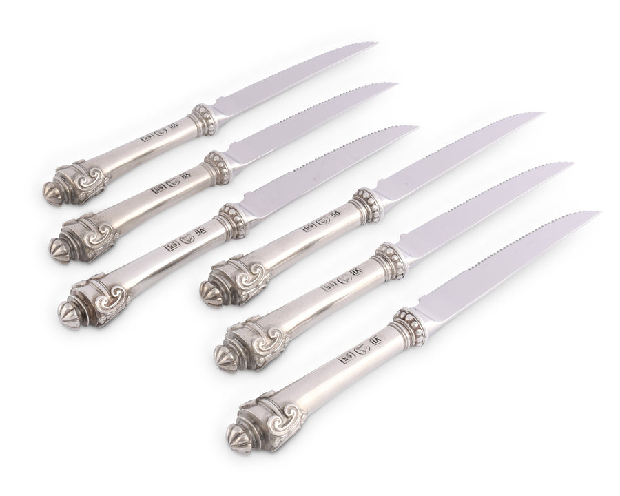 "Vagabond House Pewter Medici Forged Steak Knife Boxed Set of 6 7.5"" Long"