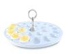 "Vagabond House Stoneware Deviled Egg Tray with Pewter Classic Ring Handle; 13"" Diameter"