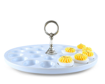 Deviled Egg Tray with Pewter Classic Ring Handle