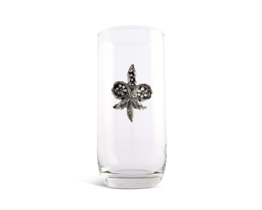 Vagabond House Hand-Blown Ice Tea / Lemonade / Long Drink  All Purpose Glass with Solid Pewter Fleur de Lis Accent