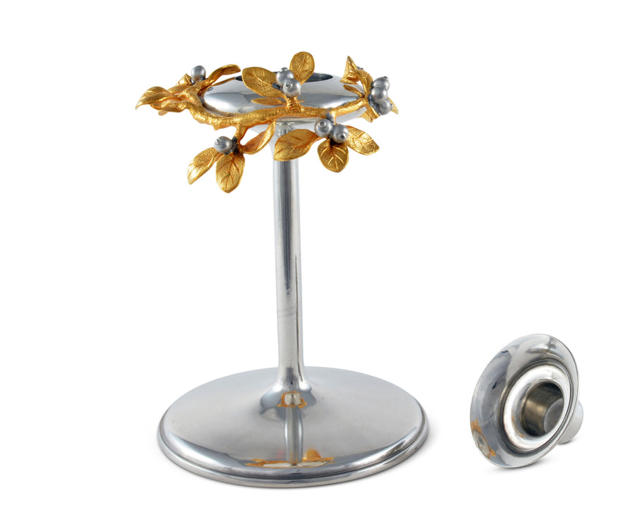 Candlestick Modern Short- Golden Winter Berry  Vagabond House