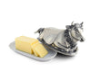 "Vagabond House Pewter Metal Mabel the Cow Butter Cream Cheese Dish Lid with Stoneware Tray Base 8.5"" Long"