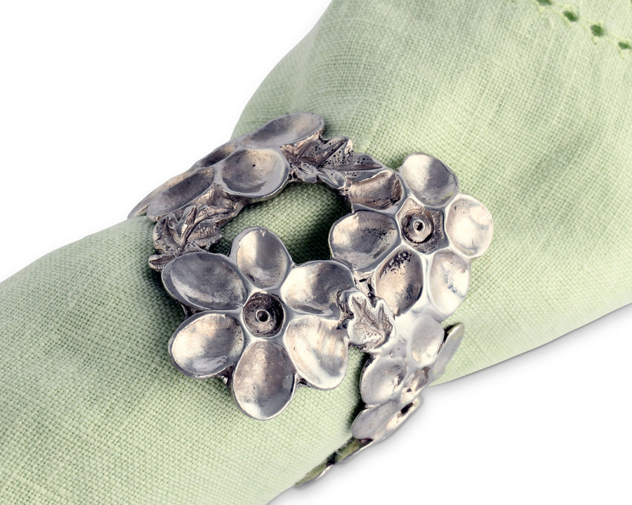 Vagabond House Pewter Lilacs Flower Napkin Ring 1.5 Inches Diameter  (Sold as Single Ring)  Artisan Crafted Designer Rings
