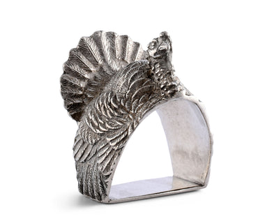 "Vagabond House Pewter Turkey Thanksgiving Napkin Ring 2.5"" Tall  (Sold as Single Ring)  Artisan Crafted Designer Rings"